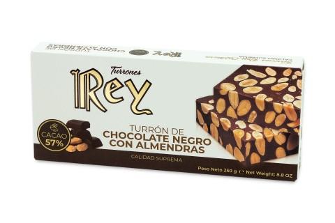 Turrón de Chocolate Negro y Almendras 250g.